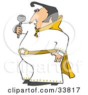 Elvis Impersonator In A White Costume Dancing And Singing With A Microphone