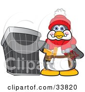 Clipart Illustration Of A Handy Penguin Mascot Cartoon Character Wearing A Tool Belt And Standing By An Air Conditioning Unit by Toons4Biz #COLLC33820-0015