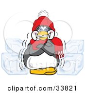 Cold Penguin Mascot Cartoon Character In A Hat And Scarf, Shivering And Surrounded By Blocks Of Ice