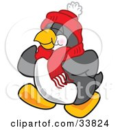 Clipart Illustration Of A Jolly Penguin Mascot Cartoon Character Jogging Or Walking by Toons4Biz