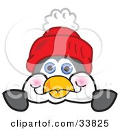 Clipart Illustration Of A Penguin Mascot Cartoon Character Wearing A Red Hat Looking Over A Surface by Toons4Biz