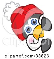 Clipart Illustration Of A Penguin Mascot Cartoon Character Wearing A Red Hat Looking Around A Corner