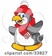 Clipart Illustration Of A Penguin Mascot Cartoon Character Flapping His Wings by Toons4Biz