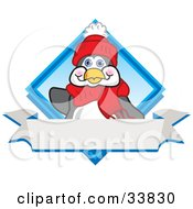 Clipart Illustration Of A Friendly Penguin Mascot Cartoon Character Waving On A Blue Logo With A Blank White Banner by Toons4Biz