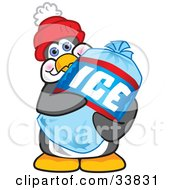 Clipart Illustration Of A Penguin Mascot Cartoon Character Carrying A Bag Of Ice by Toons4Biz