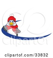 Clipart Illustration Of A Friendly Penguin Mascot Cartoon Character Waving On A Blue Logo Dash Or Name Tag by Toons4Biz