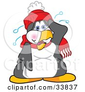 Clipart Illustration Of A Hot Or Nervous Penguin Mascot Cartoon Character Sweating by Toons4Biz