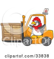 Clipart Illustration Of A Penguin Mascot Cartoon Character Operating A Forklift And Moving A Crate by Toons4Biz