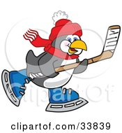Clipart Illustration Of A Sporty Penguin Mascot Cartoon Character Playing Ice Hockey by Toons4Biz