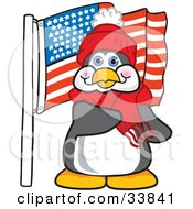 Clipart Illustration Of A Patriotic Penguin Mascot Cartoon Character Pledging Allegiance To An American Flag by Toons4Biz