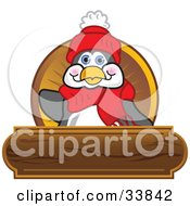 Clipart Illustration Of A Friendly Penguin Mascot Cartoon Character Waving On A Wooden Logo Plaque by Toons4Biz