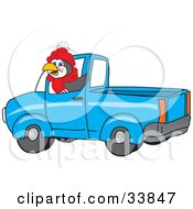 Clipart Illustration Of A Penguin Mascot Cartoon Character Waving And Driving A Blue Pickup Truck by Toons4Biz