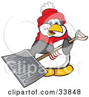 Clipart Illustration Of A Penguin Mascot Cartoon Character Carrying A Snow Shovel by Toons4Biz