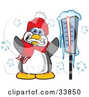 Clipart Illustration Of A Happy Penguin Mascot Cartoon Character Standing By A Thermometer In The Snow by Toons4Biz