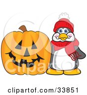 Clipart Illustration Of A Penguin Mascot Cartoon Character By A Carved Halloween Pumpkin by Toons4Biz