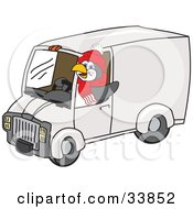 Clipart Illustration Of A Penguin Mascot Cartoon Character Waving And Driving A Delivery Van by Toons4Biz