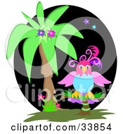 Clipart Illustration Of A Colorful Parrot Perched By A Palm Tree At Night by bpearth