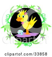 Yellow Duck Standing Over A Floral Easter Egg In A Black Oval With Green Vines