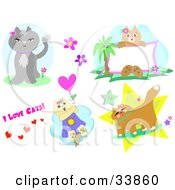 Clipart Illustration Of A Design Set Of Cat Poses And Text by bpearth