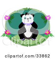Friendly Panda Sitting On Grass In A Bamboo Frame With Flowers