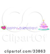 Clipart Illustration Of A Three Tiered Pink Birthday Cake With A Candle Heart And Happy Birthday Greeting by bpearth