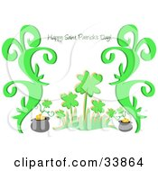 Clipart Illustration Of A Happy Saint Patricks Day Greeting On A Background Of Clovers Plants And Pots Of Gold by bpearth