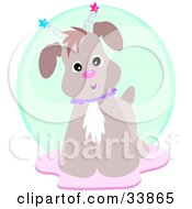 Clipart Illustration Of A Curious Brown Dog Wearing Star Antennae Standing On A Pink Rug In Front Of A Green Circle