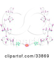 Clipart Illustration Of A White Background Bordered In Pink Vines And Flowers by bpearth