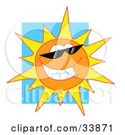 Clipart Illustration Of A Grinning Sun Wearing Shades Shining In A Blue Sky by Hit Toon