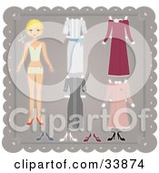 Blond Paper Doll Girl In Her Under Garments With Four Different Dresses