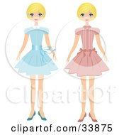 Clipart Illustration Of A Blond Girl Shown In Two Poses Wearing A Blue Dress And Also A Pink Dress