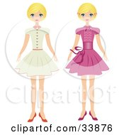 Clipart Illustration Of A Blond Girl Shown In Two Poses Wearing A Beige Dress And Also A Pink Dress