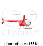 Clipart Illustration Of A Red Helicopter Hovering In The Sky by Rasmussen Images