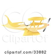 Clipart Illustration Of A Vintage Yellow Bi Plane by Rasmussen Images