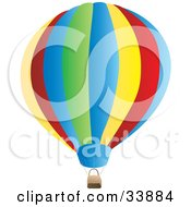 Clipart Illustration Of A Large Colorful Hot Air Balloon With A Basket by Rasmussen Images