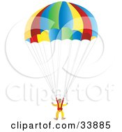 Clipart Illustration Of A Suited Parachuter Gliding Through The Sky