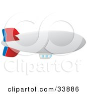 Clipart Illustration Of A White Blue And Red Blimp With Viewing Windows