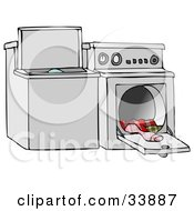 Top Loading Washing Machine And An Open Dryer With Warm Clothes