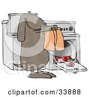 Clipart Illustration Of A Spotted Brown Dog Pulling Warm Boxers Out Of A Dryer