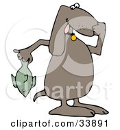 Clipart Illustration Of A Brown Dog Holding A Stinky Dead Fish And Plugging His Nose by djart