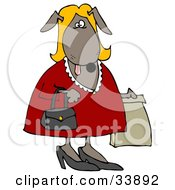 Blond Dog In A Red Dress Carrying A Purse And A Bag While Shopping