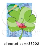 Clipart Illustration Of A Cheerful Green Clover Wearing A Green Hat Over A Blue Leaf And White Background by Hit Toon