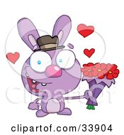 Clipart Illustration Of A Romantic Purple Bunny With Hearts Smiling And Holding Out Flowers For His Date On A White Background