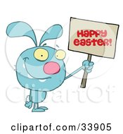 Clipart Illustration Of A Grinning Blue Rabbit Holding Up A Happy Easter Greeting Sign On A White Background