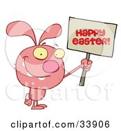 Clipart Illustration Of A Grinning Pink Rabbit Holding Up A Happy Easter Greeting Sign On A White Background