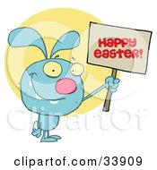 Clipart Illustration Of A Blue Bunny Rabbit Holding Up A Happy Easter Greeting Sign Over A Yellow Circle On A White Background