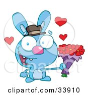 Clipart Illustration Of A Romantic Blue Bunny With Hearts Smiling And Holding Out Flowers For His Date On A White Background
