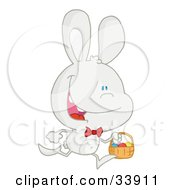 Happy White Rabbit Running With Easter Eggs In A Basket On A White Background