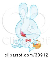Clipart Illustration Of A Happy Pale Blue Bunny Running With Easter Eggs In A Basket On A White Background by Hit Toon
