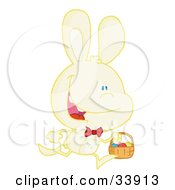 Clipart Illustration Of A Happy Pale Yellow Bunny Running With Easter Eggs In A Basket On A White Background
